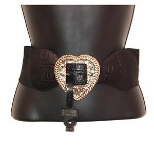 NWT Kandell & Marcus Heart Buckle Stretch Belt